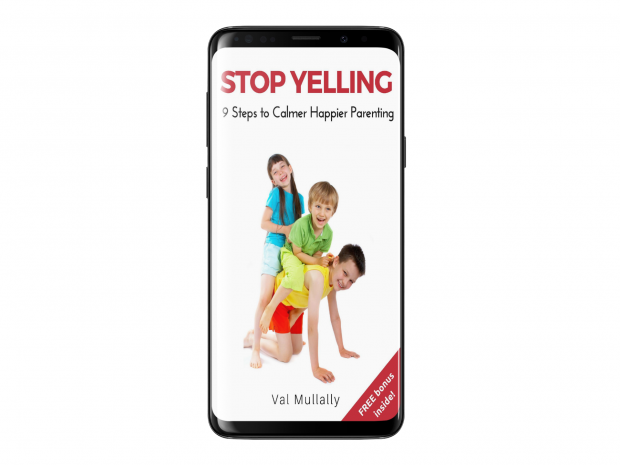Stop Yelling - Nine Steps to Calmer Hauer Parenting on smartphone
